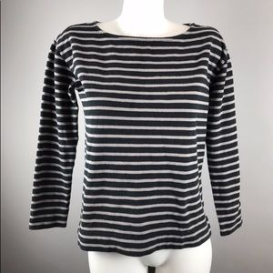 Everlane boat neck striped heavy weight tee.